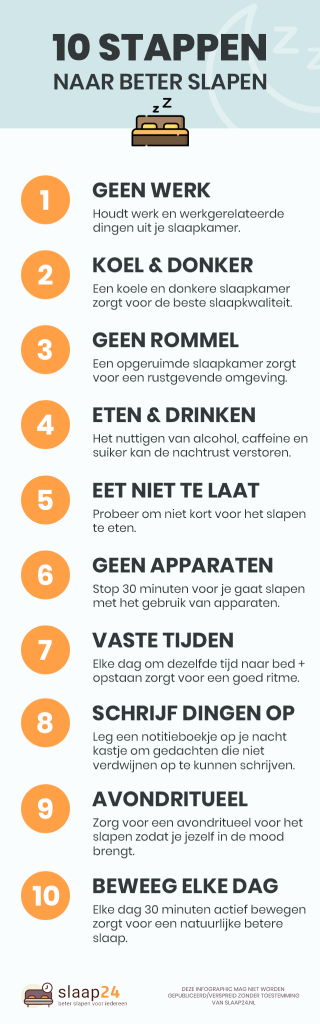 Infographic: 10 stappen om beter te kunnen slapen